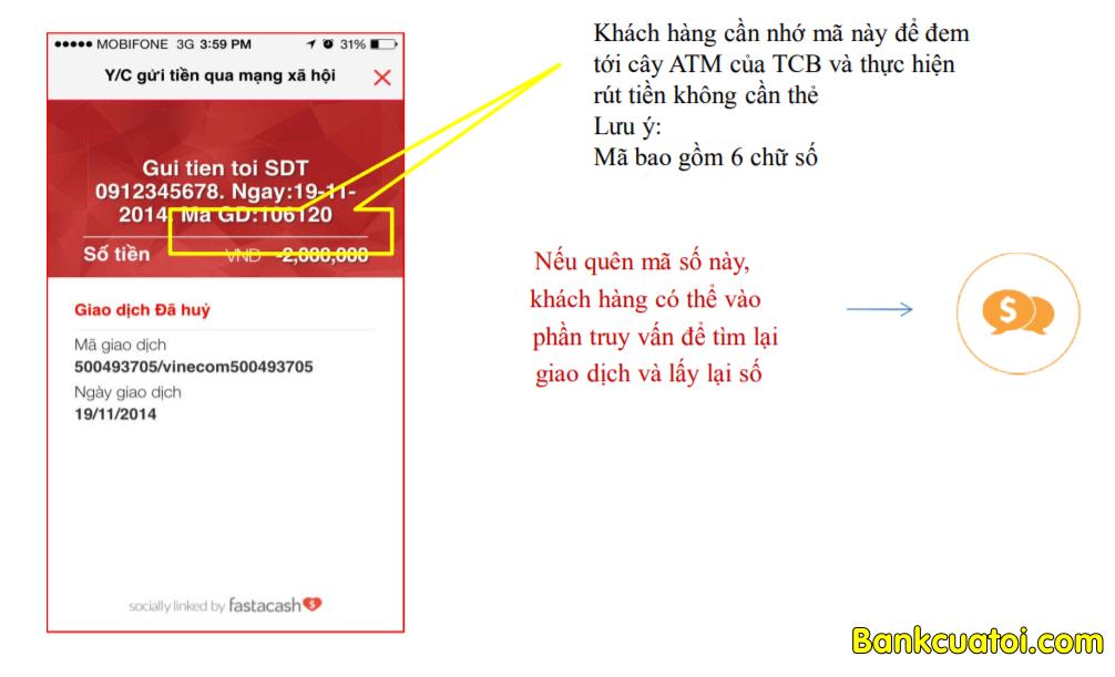 Rut tien khong can the techcombank