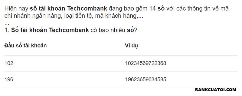 So tai khoan ngan hang techcombank co bao nhieu so