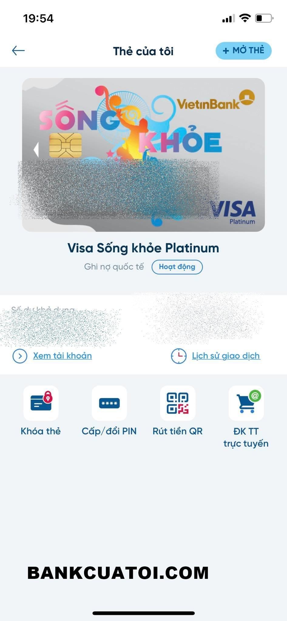 Hủy thẻ atm vietinbank