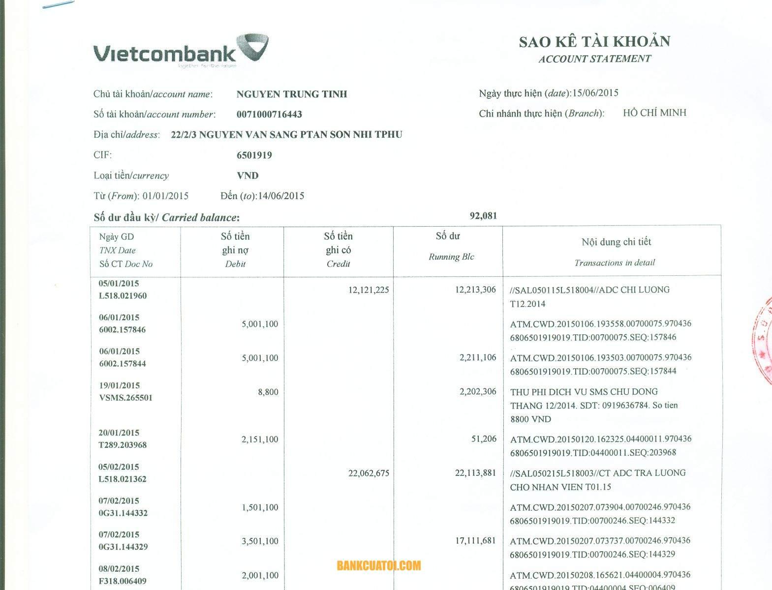 Cách xóa lịch sử giao dịch Vietcombank